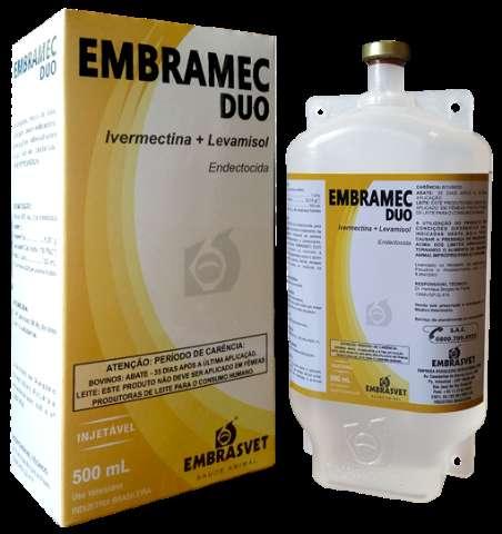Embramec Duo 1% Ivermectina + 18% Levamisol Frasco 500ml.