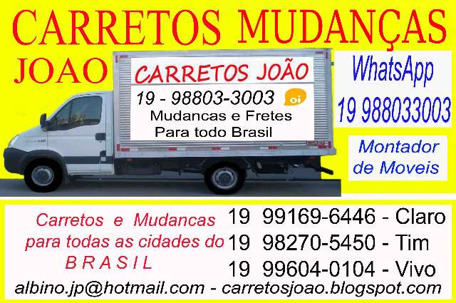 Carretos, Mudancas de Campo Grande,Corumbá para Campinas, Jundiai, Araras.