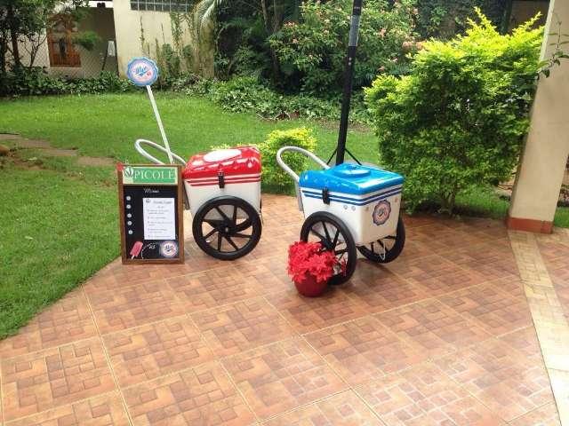 Aluguel de carrinhos de picolés com 5 placas de gelo e guarda sol